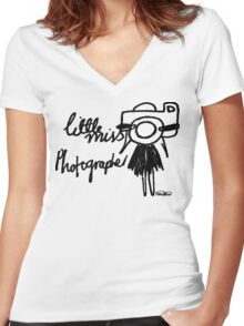 Little Miss Photographer Women's Fitted V-Neck T-Shirt