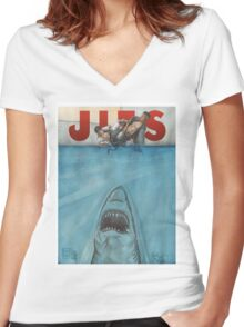 JITS - Mat is Ocean - TITLE ONLY Women's Fitted V-Neck T-Shirt
