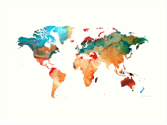 Map of The World 7 -Colorful Abstract Art by Sharon Cummings