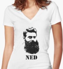 Ned Kelly Women's Fitted V-Neck T-Shirt