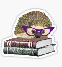 Adorable Literary Hedgehog wearing Glasses Sticker