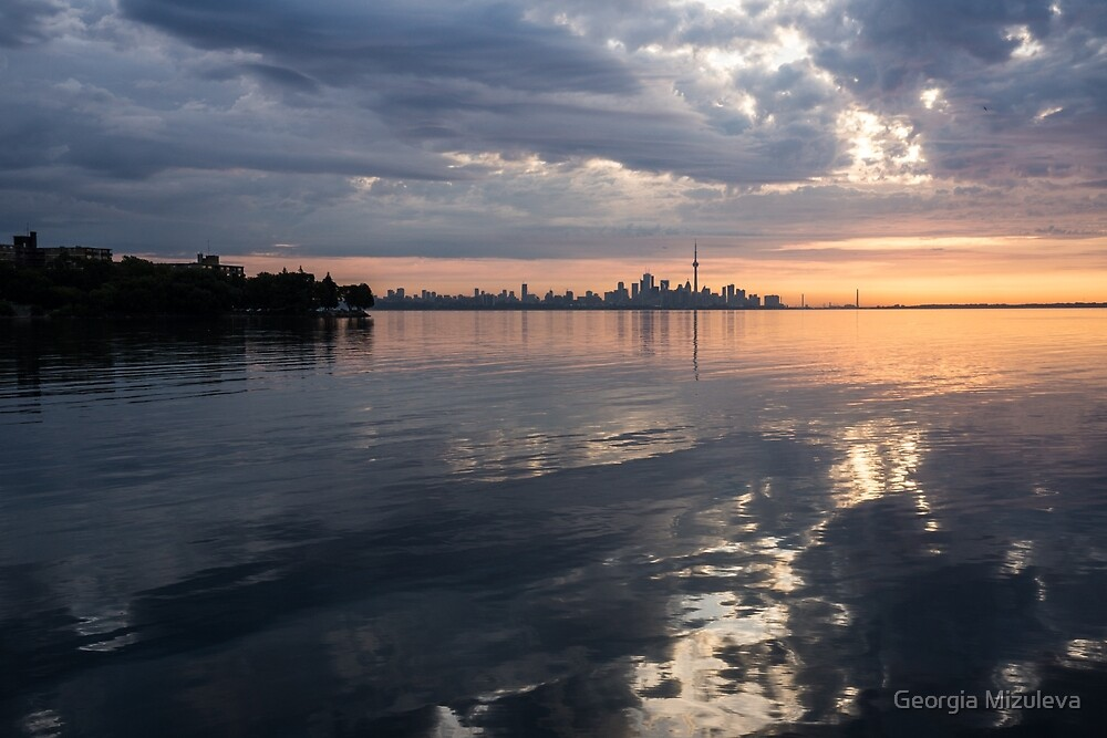 Early Morning Reflections - Lake Ontario and Downtown Toronto Skyline  by Georgia Mizuleva