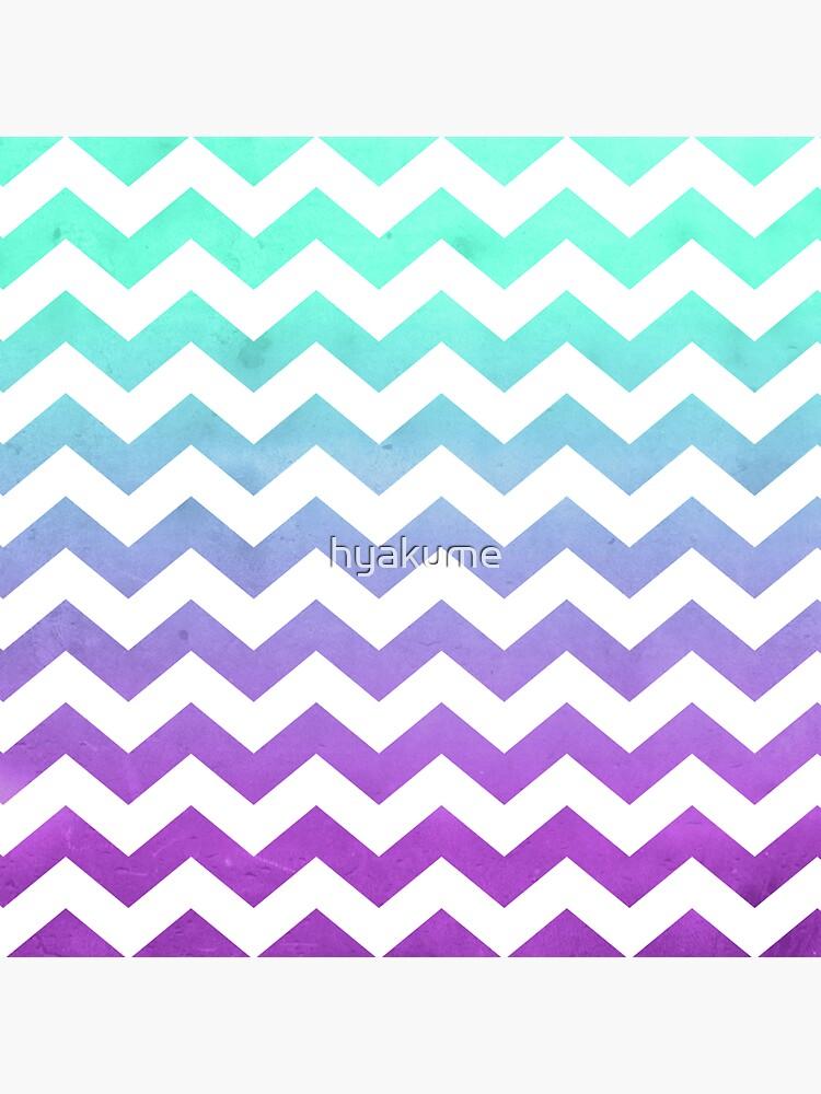 Purple Mint Aqua Ombre Chevron Pattern de hyakume
