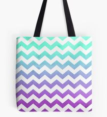 Bolsa de tela Purple Mint Aqua Ombre Chevron Pattern