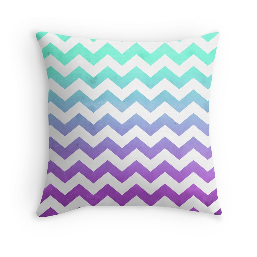 Quot Purple Mint Aqua Ombre Chevron Pattern Quot Throw Pillows By