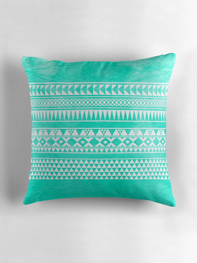 Abstract Geometric Turquoise Mint Teal Urban Tribal Aztec Pattern By Hyakume