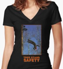 TREE STAND SAFETY Women's Fitted V-Neck T-Shirt