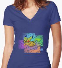 Springing Pikachu Women's Fitted V-Neck T-Shirt