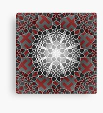 Octagonal Floral Mandala Sayagata Layered Canvas Print