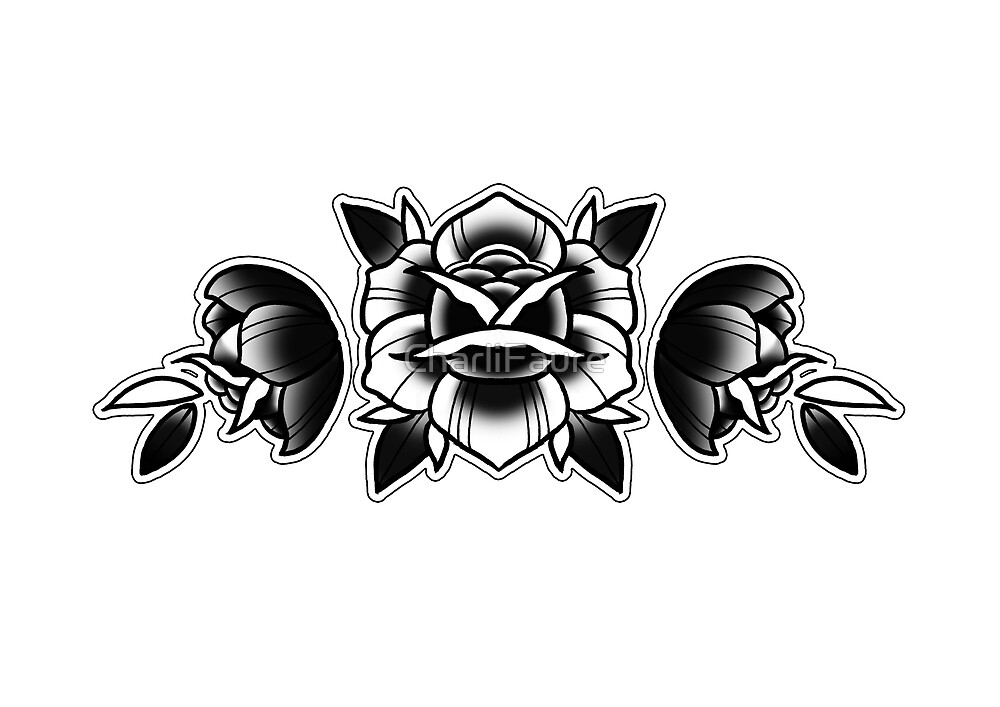 traditional rose tattoo design by charlifaure redbubble. Black Bedroom Furniture Sets. Home Design Ideas