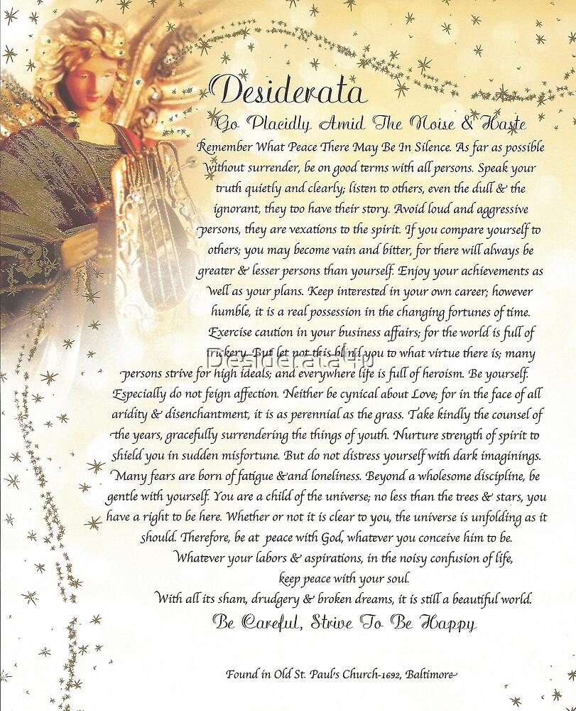 graphic about The Desiderata Poem Printable referred to as desiderata poem\u003dangelic\