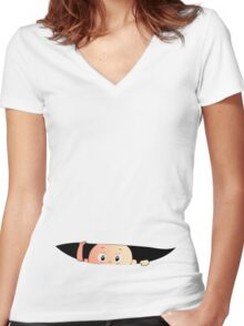 Peeping Baby - Pregnant Mother Women's Fitted V-Neck T-Shirt