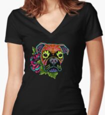 Boxer in Fawn - Day of the Dead Sugar Skull Dog Women's Fitted V-Neck T-Shirt