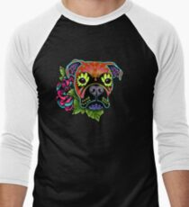 Boxer in Fawn - Day of the Dead Sugar Skull Dog Baseball ¾ Sleeve T-Shirt