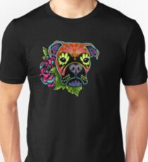Boxer in Fawn - Day of the Dead Sugar Skull Dog T-Shirt
