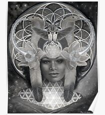 Egyptian Goddess Nephthys in Black and White Poster