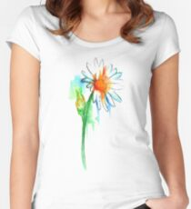 Daisy Watercolor Women's Fitted Scoop T-Shirt