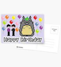 8-bit Phil and Dan with Totoro Happy birthday! Postcards