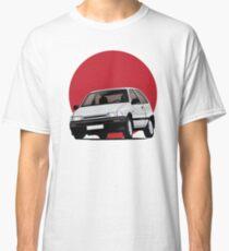 Daihatsu Charade GTti illustration, white with rising sun Classic T-Shirt