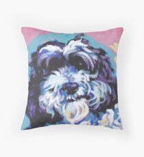 Cockapoo Dog Bright colorful pop dog art Throw Pillow