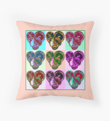 Steampunk 'Pop-Heart' Pop Art Throw Pillow