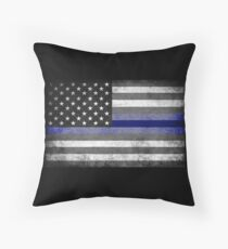 The Thin Blue Line - American Police Officer Throw Pillow