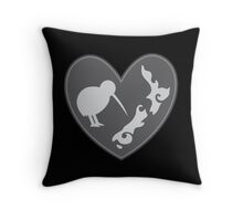 KIWI bird heart with New Zealand map Throw Pillow
