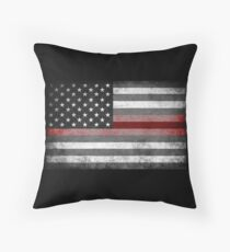 The Thin Red Line - American Firefighter Throw Pillow