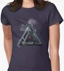 Abstract Geometry: The Portal (White Smoke) Womens Fitted T-Shirt