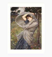 John William Waterhouse - Boreas . Woman portrait: sensual woman, girly art, female style, pretty women, femine, beautiful dress, cute, creativity, love, sexy lady, erotic pose Art Print