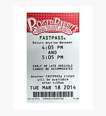 Roger Rabbit's Cartoon Spin Fastpass Photographic Print