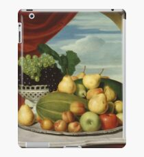 John Vanderlyn - Still Life Fruit In A Classical Setting 1858. Still life with fruits and vegetables: fruit, vegetable, grapes, tasty, gastronomy food, flowers, dish, cooking, kitchen, vase iPad Case/Skin