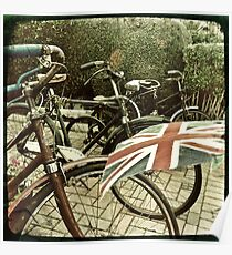 Vintage Bicycles and Union Jacks flapping Poster