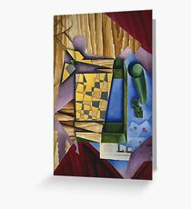 Juan Gris - Backgammon. Abstract painting: abstract art, geometric, expressionism, composition, lines, forms, creative fusion, spot, shape, illusion, fantasy future Greeting Card