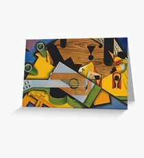 Juan Gris - Still Life With A Guitar. Abstract painting: abstract art, geometric,  Guitar, composition, lines, forms, creative fusion, spot, shape, illusion, fantasy future Greeting Card