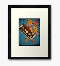Boy Hiding Chocolate Bars Framed Print