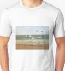 Two red bicycles at the coast Unisex T-Shirt