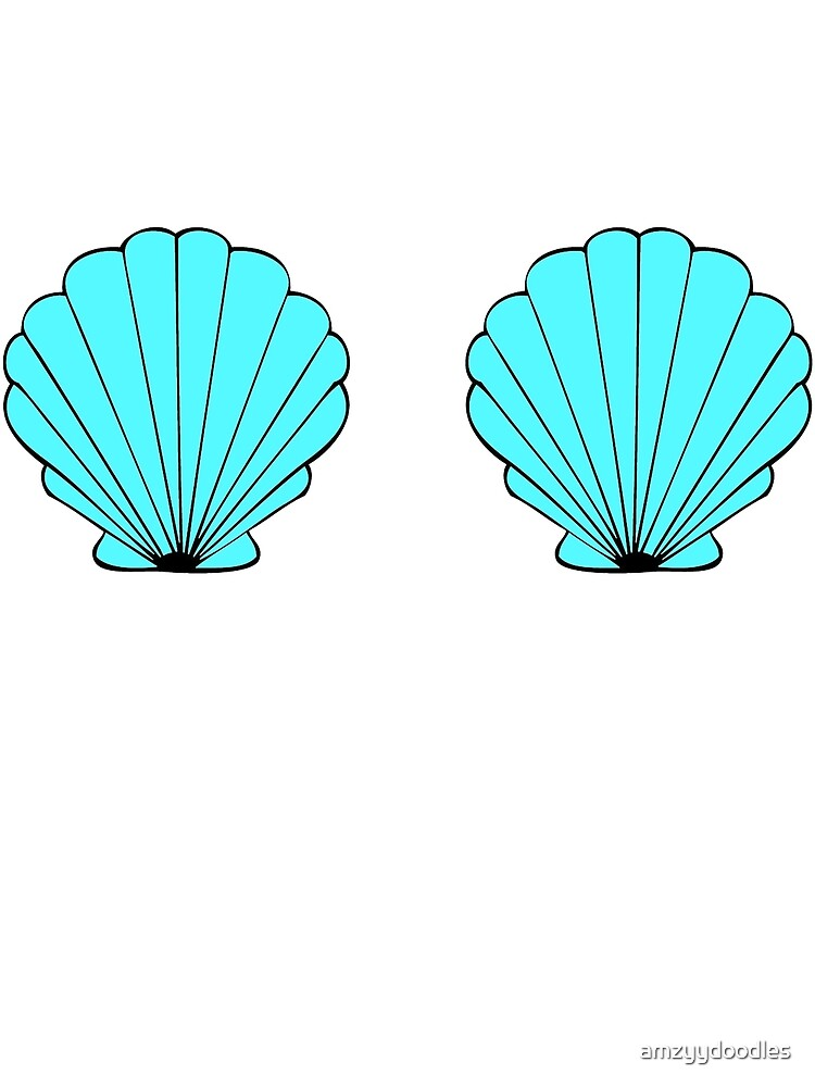 Quot Blue Mermaid Shells Quot By Amzyydoodles Redbubble