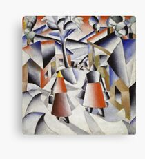 Kazimir Malevich - Morning In The Village After Snowstorm. Abstract painting: abstract art, winter, village, snowstorm, lines, forms, creative fusion, spot, shape, illusion, fantasy future Canvas Print