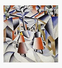 Kazimir Malevich - Morning In The Village After Snowstorm. Abstract painting: abstract art, winter, village, snowstorm, lines, forms, creative fusion, spot, shape, illusion, fantasy future Photographic Print