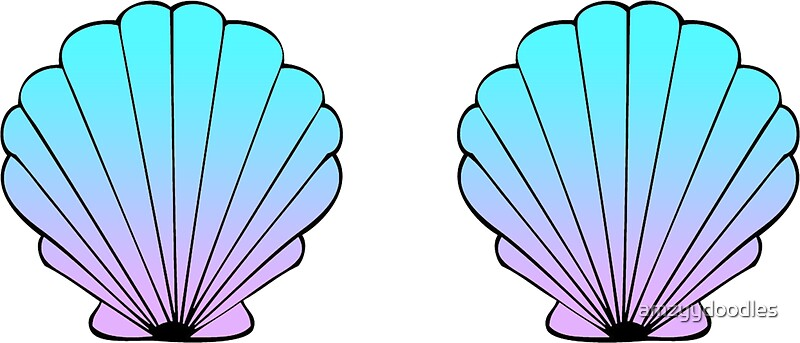 """Mermaid Shells Blue-Pink Ombre"" Stickers by amzyydoodles ..."