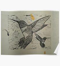 Pretty black ink hummingbirds on petal paper Poster