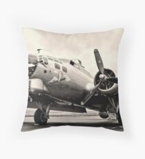 B-17 Bomber Airplane Aluminum Overcast Throw Pillow