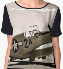 Tuskegee P-51 Mustang Vintage Fighter Plane Women's Chiffon Top