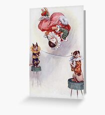 Joseph Finnemore - Dog And Clown Circus Act. Clown portrait: clown, funnyman, humorist, jollier, business suite, joker, wag, Circus, arena, Dog, Act Greeting Card