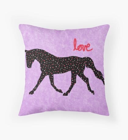 Cute Horse, Hearts and Love Throw Pillow