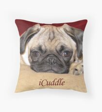 Cute iCuddle Pug Puppy Art, iPhone & iPad Cases Throw Pillow