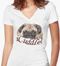 Cute iCuddle Pug Puppy Art, iPhone & iPad Cases Women's Fitted V-Neck T-Shirt