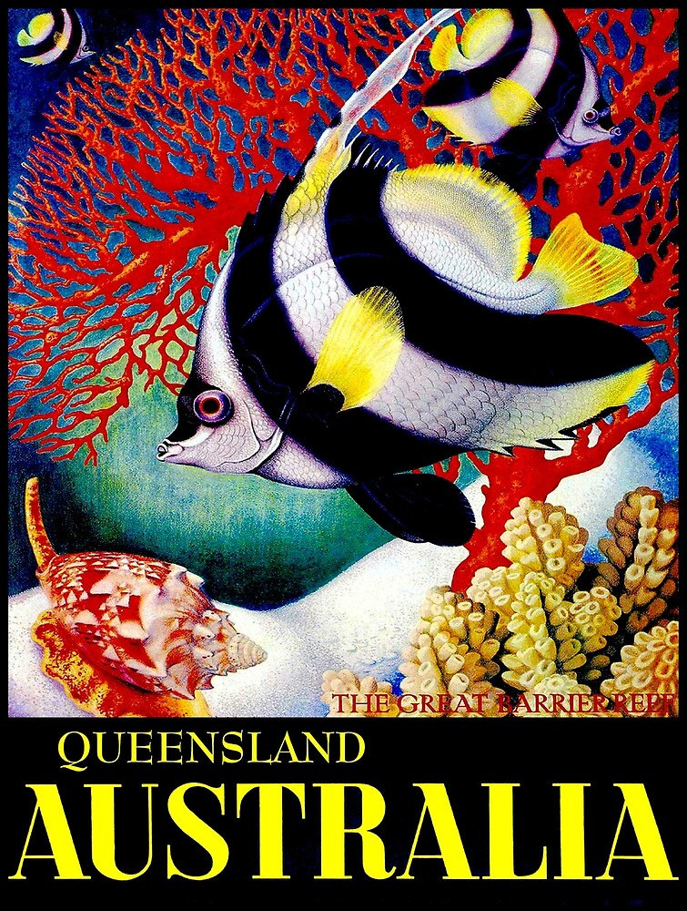 """""""AUSTRALIA QUEENSLAND""""Great Barrier Reef Tourism Print by posterbobs"""