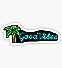 """gute Vibes"" Palme Leuchtreklame Aufkleber Sticker"